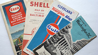 Lot of 4 Vintage ROAD MAPS - POSTPAID in USA!!