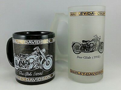 Harley Davidson 1958 Duo Glide Coffee Cup and Beer Mug Set