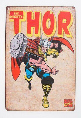 Thor Metal Plate Vintage Wall Decor Poster Marvel Comics Greek god Retro Plaque