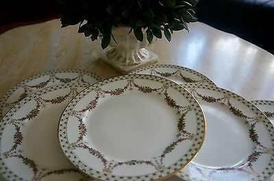 Haviland Limoges Gilded Gold Bows with Garlands of Flowers 8 Plates