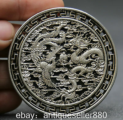 Curio Chinese Miao silver Collect Fengshui 12 Zodiac Year Dragon phoenix Amulet