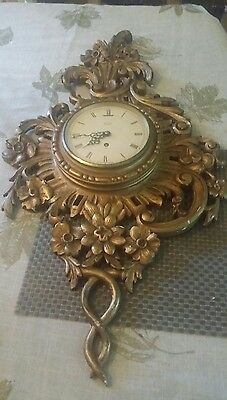 Vintage Smiths Jewels  Brass accent Wall Clock 8 Day. As is