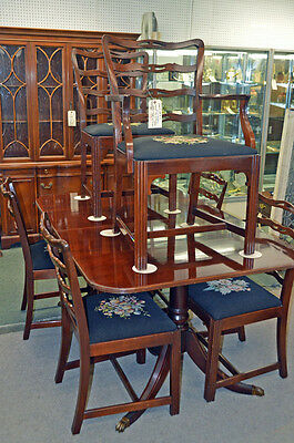 "QUALITY TRADITIONAL Style SOLID MAHOGANY ""CHIPPENDALE"" LADDERBACK Chairs & TABLE"