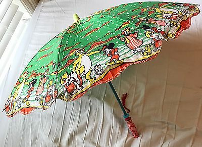 Antique Vintage Child Umbrella Mickey Mouse Bear Disney Fabric