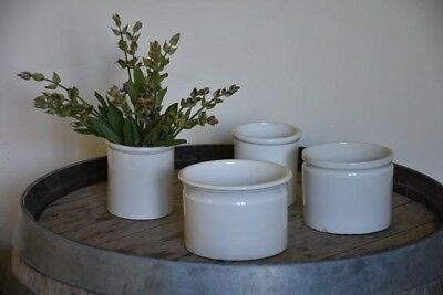 Four 19th century French ironstone preserving jars - antique Creil earthenware
