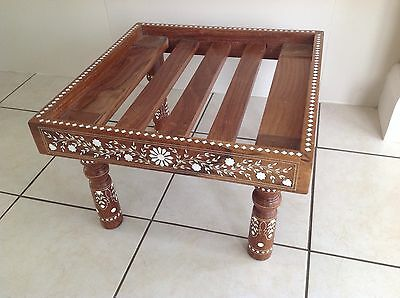 Low Hardwood Inlaid Stool. Asian, Oriental, Indian?