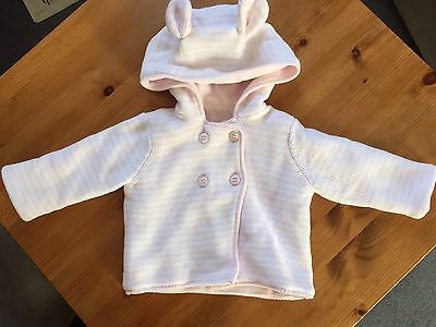 Mothercare Baby Girl 0-3 Months Pink/white Striped Knitted Hooded Cardigan