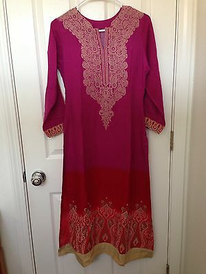 Pakistani Indian Pink Red Shalwar Qameez Palazzos