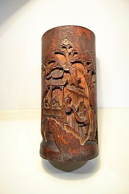 Antique Chinese Bamboo Figural Scene Brush Pot Holder