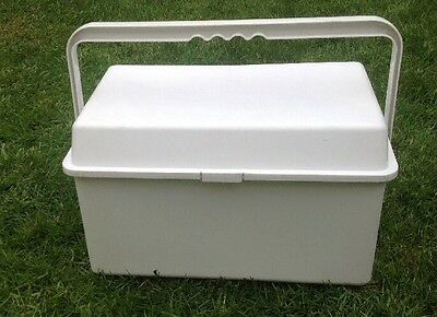 Sturdy White Plastic Storage Box With Carry Handle Baby Changing Box