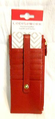 Lodis Red Leather Credit Card Slim Case Stacker Skinny Wallet NWT