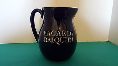 Bacardi Daiquiri 1 Quart Blue Ceramic Promotional Pitcher