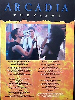 ARCADIA. THE FLAME - ORIGINAL 1 PAGE LYRICS POSTER FROM 1980s No1 MAGAZINE