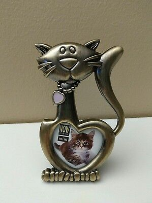 "Cute Cat Shaped Small Heart Photo Picture Frame Bronze Color 5""h"