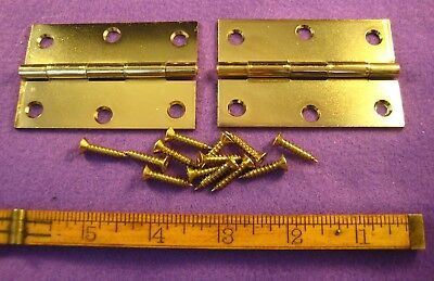 Old Antique Vintage Stanley 2 Pc Butt Door Hinges Steel Plated Brass Made In Usa