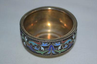 Antique Russian 88 Silver and Enamel Salt Cellar Grachev Moscow