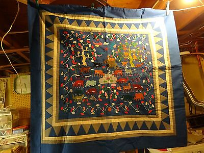 """34"""" X 32"""" Hmong Story Cloth Tapestry, Intricate Story of Jungle Life"""