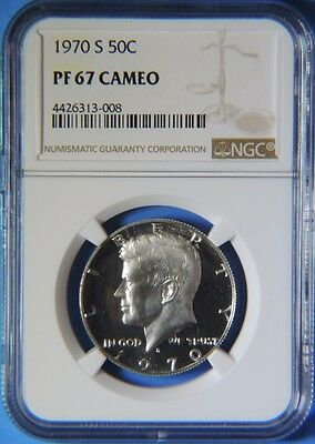 1970 S Silver Proof Kennedy Half Dollar NGC Graded PF67 Cameo