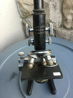 Ernst Leitz Microscope with one eyepiece, three objectives, mechanical stage....