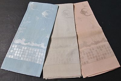 Vintage 3 Pastel Damask Hand Towels FISH Mid Century Bath Theme