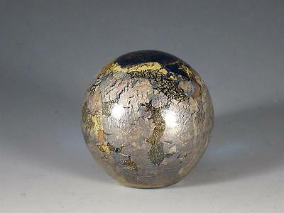 Vintage Isle of Wight Metallic Gold Over Turquoise Art Glass Studio Paperweight