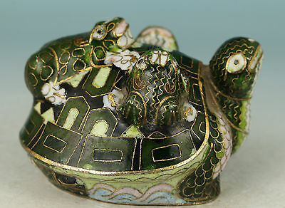 chinese Collect Good Green Cloisonne Hand Carving Tortoise Frog Statue