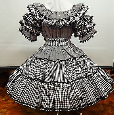 2 Pc Fancy Fashions Black And White 3 Size Check Square Dance Dress