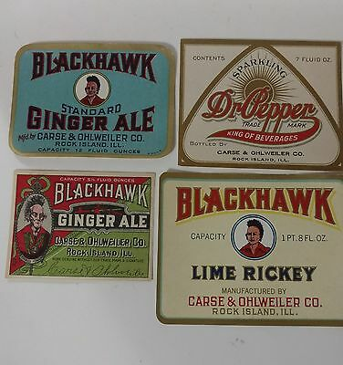 4 Old Unused Pictorial Soda Bottle Labels - Black Hawk - Dr. Pepper