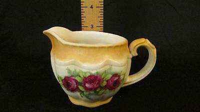 Antique Czechoslovakia Porcelain Creamer, Red Roses, Shows Age and Wear