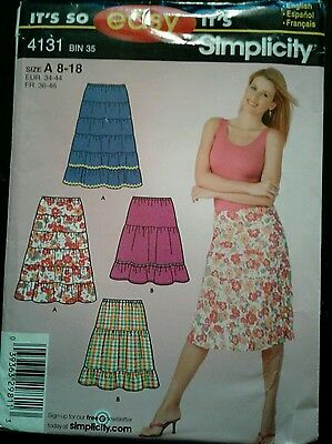 Sewing Pattern Simplicity 4131 Easy Tiered Skirt Uncut Complete SZ 8-18