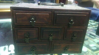 chinese old redwood chest box with Drawer copper flower door knocker