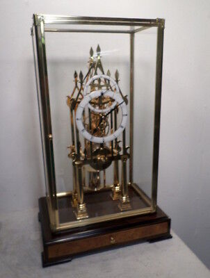 Terrific 24K Precision Skeleton Clock--Double Overlay Porcelain Dial/Chain Fusee