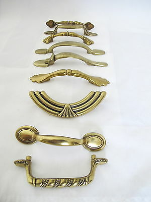 9 Beautiful Vintage  Antique  Brass Cabinet Drawer Pulls