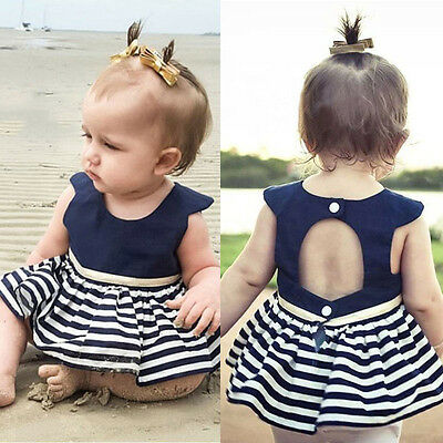 Baby Kids Girl Summer Striped Sleeveless Dress Princess Party Pageant Dresses