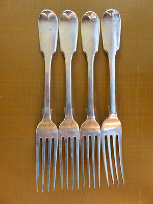Four Antique Sterling Silver Forks London 1858