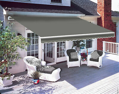 2.5 x 2m Patio Manual Awning Garden Canopy Sun Shade Retractable Shelter Grey