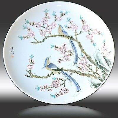 JAPANESE HAND-PAINTED 26cm DISPLAY PLATE EXOTIC YELLOW BREAST BIRDS & BLOSSOM