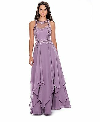 NEW  NWT Decode 1.8 Women's Long Cascading Ruffle Evening Gown  Size 10