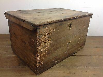 Small antique pine trunk wooden chest furniture old storage treasure box