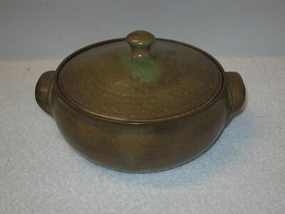 Cole Pottery Handled, Covered Casserole, Brown-Green Glaze --  North Carolina