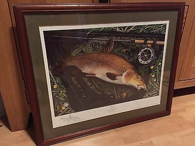 Barbel by John Searle. Limited numbered print. Framed + 2 other fishing prints
