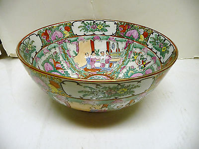 "Antique Chinese Export Rose Medallion Porcelain 10"" Bowl"