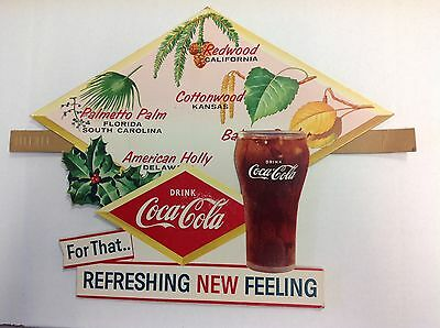 Vintage Coca Cola Cardboard Retail Sign State Trees