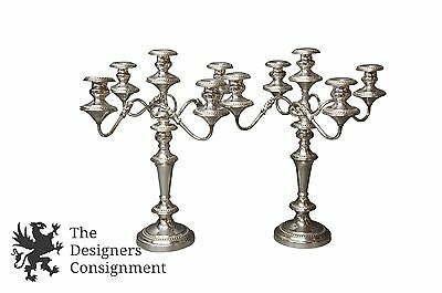 2 Goldfer Silver Co Plated Victorian Style Candelabras Candlesticks 5 Light Pair