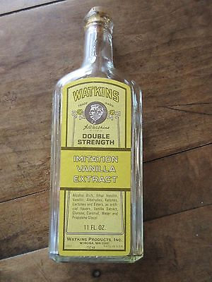Vtg Watkins Double Strength Imitation Vanilla Extract Bottle W/cork Lid/ 11 Oz.