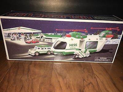 2001 Hess Toy Truck Helicopter With Motorcycle And Cruiser Limited Release NIB