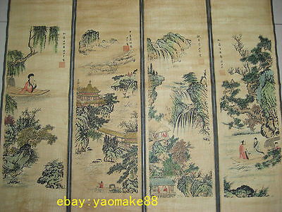 Chinese painting scroll people and landscape Zhang Daqian 4 scrolls paiting 张大千