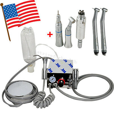 Dental Portable Air Turbine Unit work w Compressor 4H + High Low Speed Handpiece