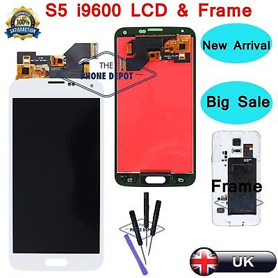 For Samsung Galaxy S5 i9600 G900F LCD Display Digitizer Touch Screen Frame White