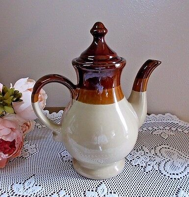 Large Western Stoneware Teapot Rich 3-Toned Brown Glaze with Tepee Lid